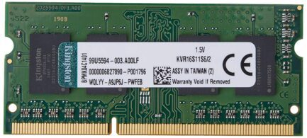 KINGSTON RAM SO-DDR3 2GB 1600MHZ PC3-12800 KVR16S11S6/2
