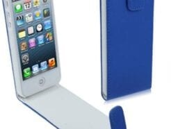 MEDIAKING COVER IN SEMIPELLE A FLIP PROTETTIVA PER IPHONE 5 BLU MKFLIP01B