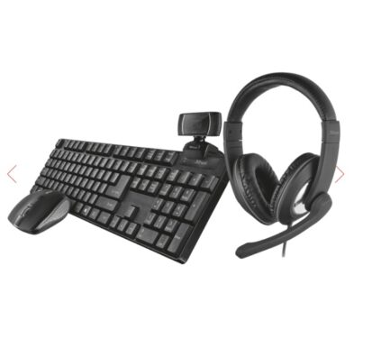 TRUST QOBY 4 IN 1 HOME OFFICE SET KIT TASTIERA + MOUSE + WEBCAM + CUFFIE 24041
