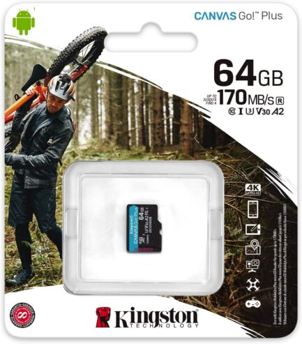 KINGSTON MICRO SD 64GB CL10 CANVAS GO PLUS SDCG3/64GBSP NO SDCARD ADAPTER