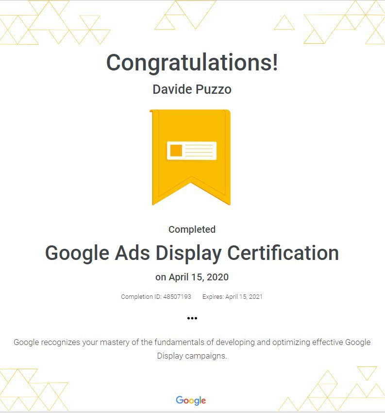 Google Ads Display Network Certification - Davide Puzzo