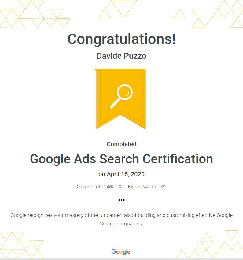 Google Ads Search Network Certification - Davide Puzzo